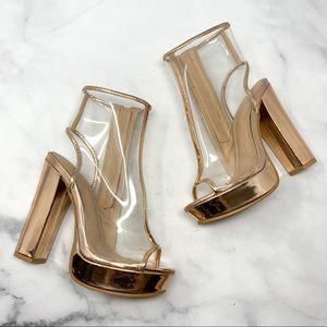 Charlotte Russe Rose Gold Platform Clear Booties 7